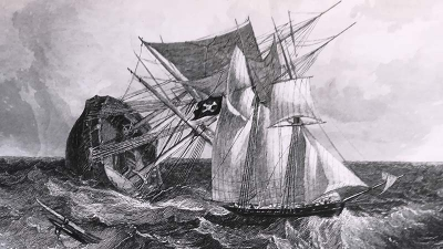 A drawing of pirate ship Marryat, 1851
