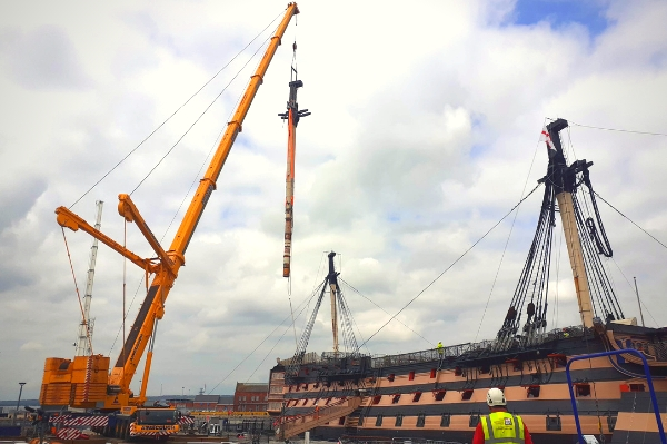 HMS Victory's Lower Mast Removed Temporarily For Analysis And Conservation