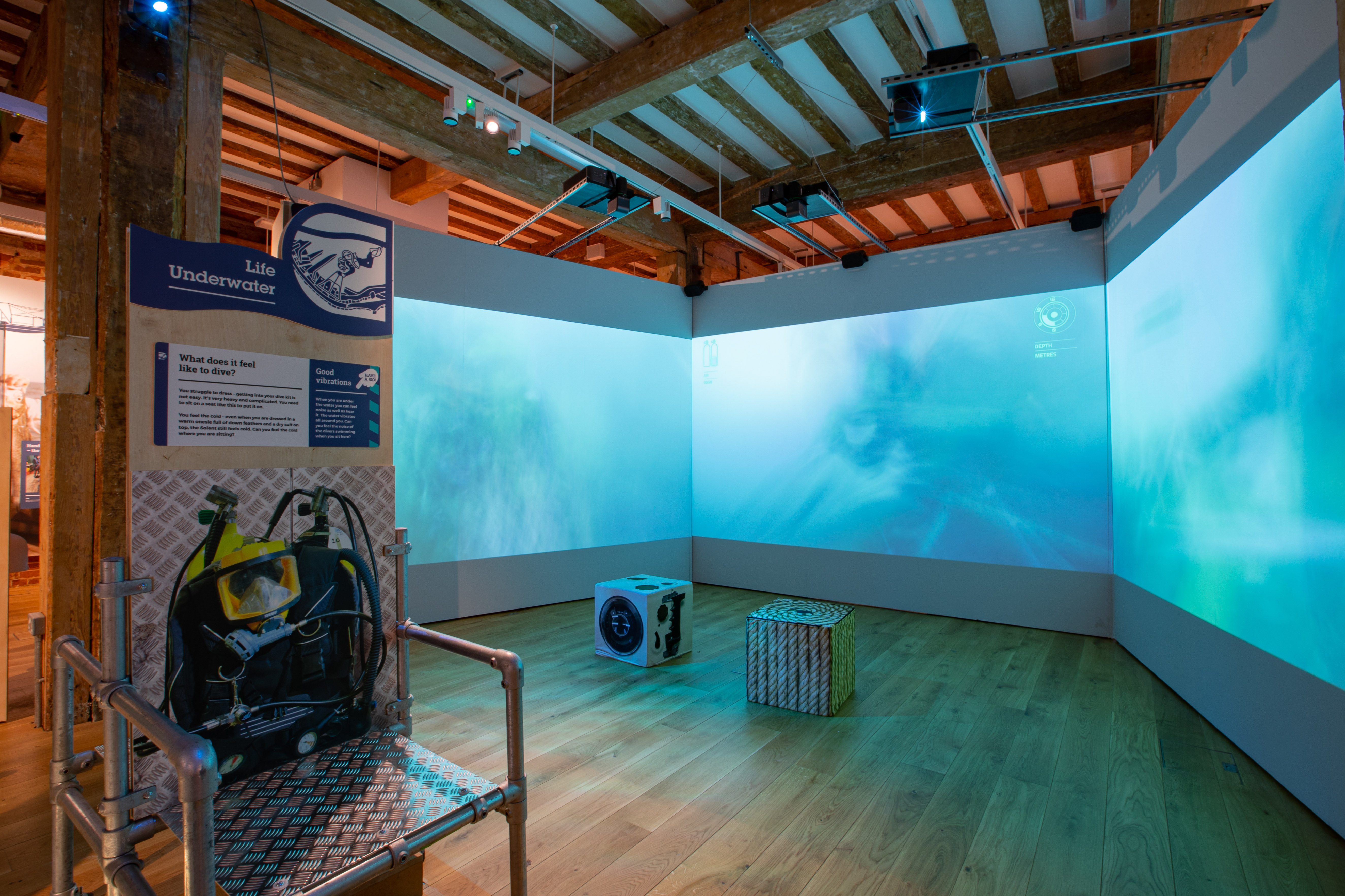 Close up of the Immersive Underwater Film Exhibit at Diving Deep Portsmouth Historic Dockyard Credit NMRN