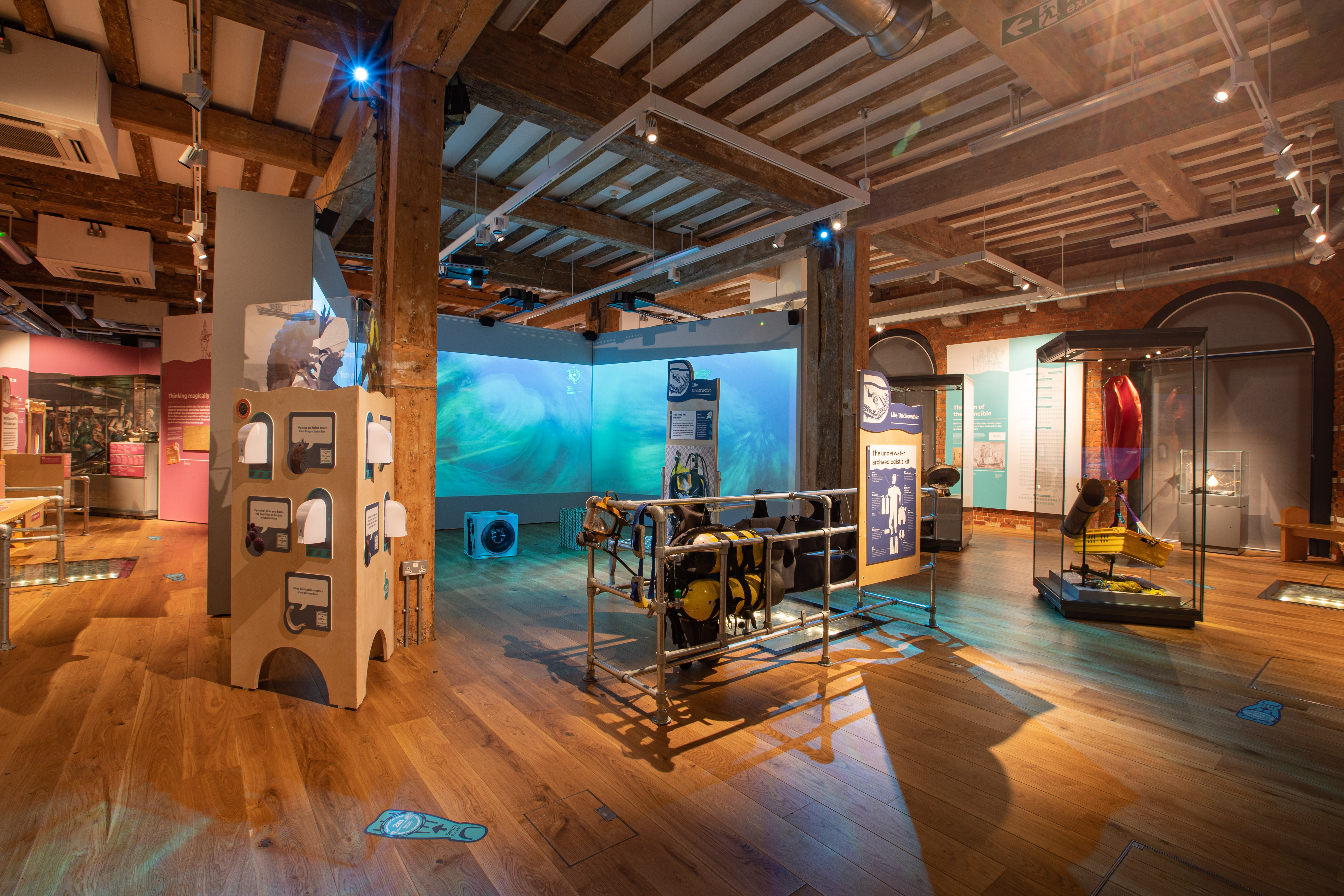 Immersive Underwater Film Exhibit in the Diving Deep Gallery Portsmouth Historic Dockyard Credit NMRN