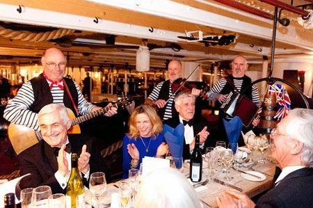 Shared Christmas party on HMS Warrior 1860