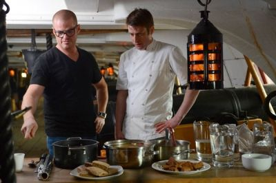 Heston delights with his Naval creation on board HMS Victory